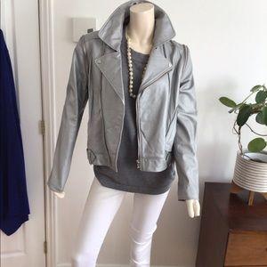 Silver leather moto jacket/vest